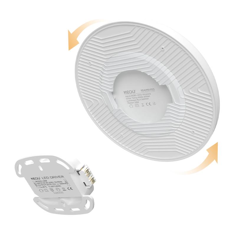 LED panel light surface mounted 36W Round PC aluminum ceiling flat lamp frameless design 3000K 4000K 6500K