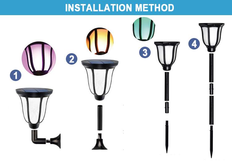 led solar flame lamp