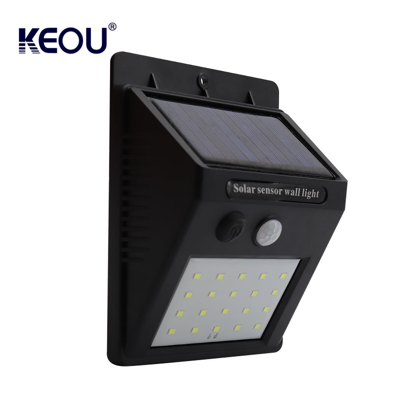 solar sensor wall light outdoor PC CE RoHs mount sensor motion ip65 garden fixtures exterior waterproof led  lamp with battery