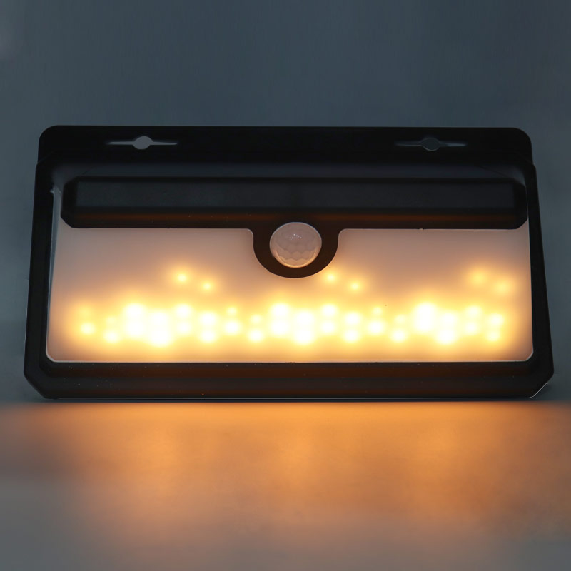 solar powered led wall light 3w outdoor surface mounted waterproof ip65 sensor battery energy power warm white lamp