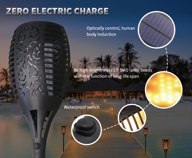 led solar flame light