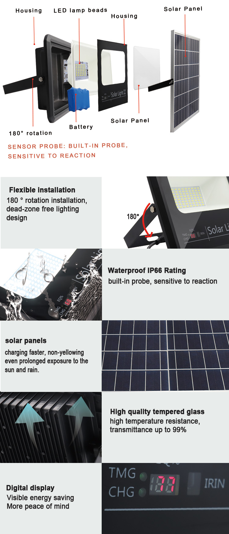 outdoor solar led flood light