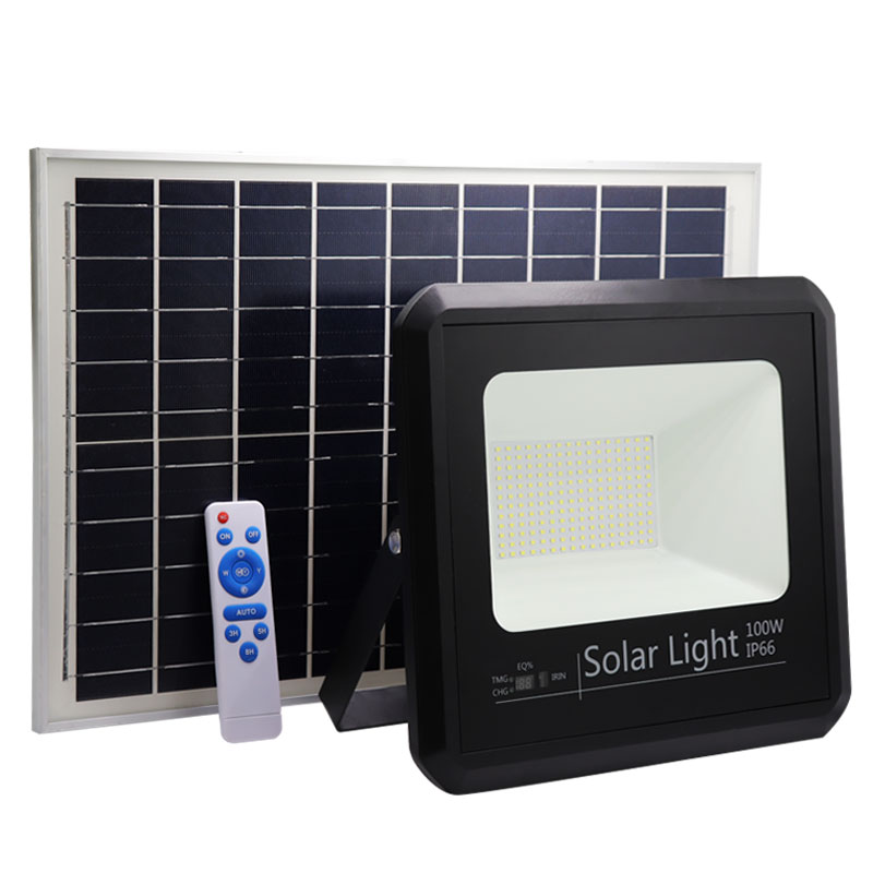 solar led flood light 100w powered energy ip66 waterproof outdoor intelligent floodlight lamp for garden city square