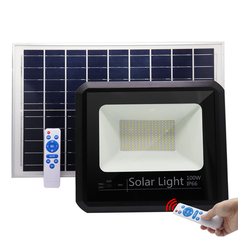 solar led flood light 100w outdoor ip66 waterproof surface mounted floodlight lamp with aluminum Tempered glass