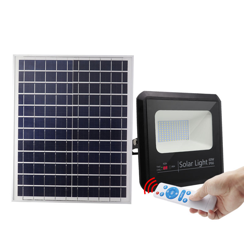 led solar floodlight 60w ip66 remote control waterproof garden 60 watt flood light lamp with power battery