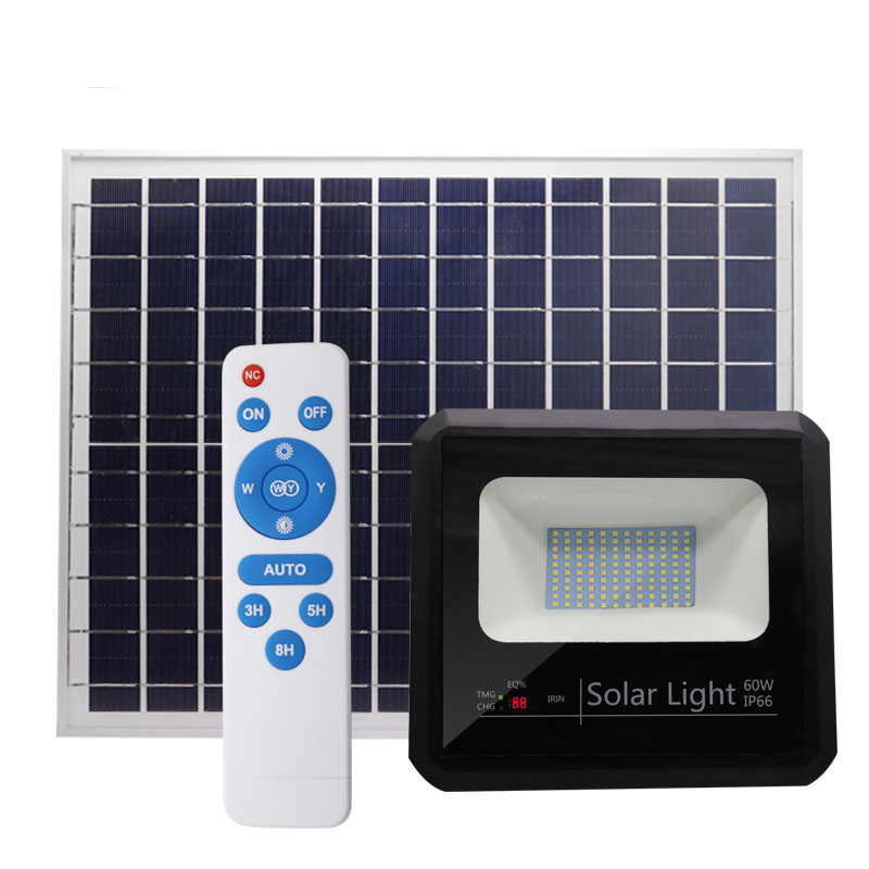 solar led flood light 60w waterproof solar flood lamp rechargeable remote control power battery ip66 for outdoor