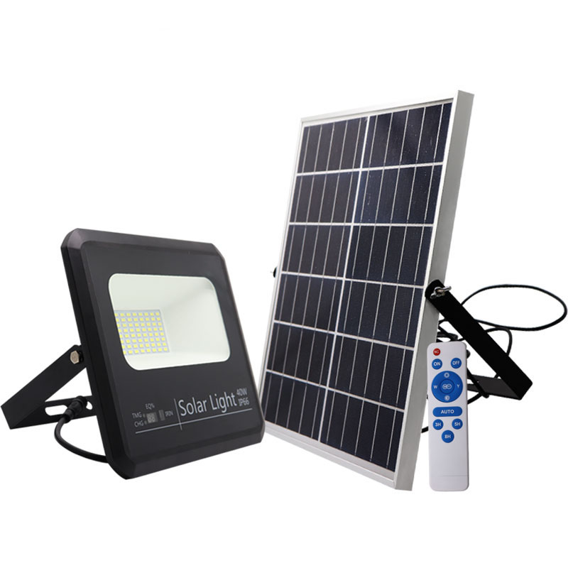 solar floodlight led 40w remote control rechargeable battery dimmable flood light ip66 lamp for outdoor waterproof