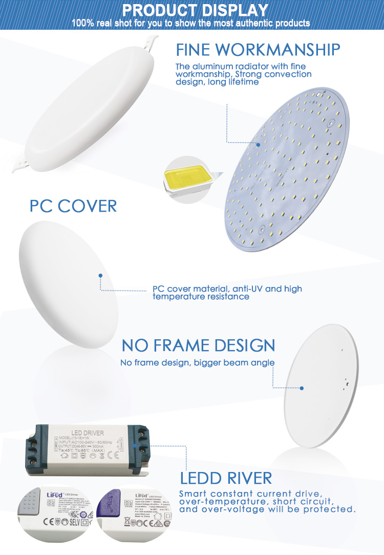 frameless round led panel light