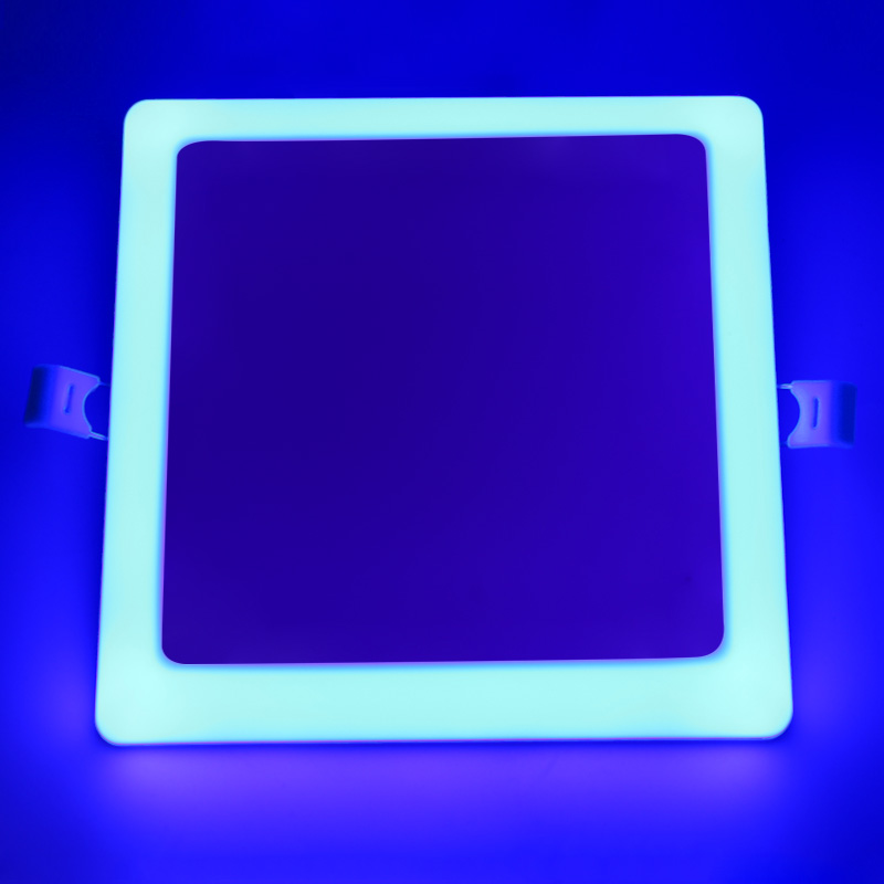 bi color led light panel 32W 24+8W square multi color rgb trimless embedded ceiling lamp down light