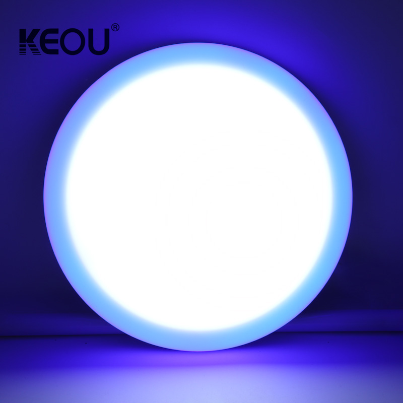 double color panel light KEOU Red blue green 6+3W 9W frameless round lamp factory