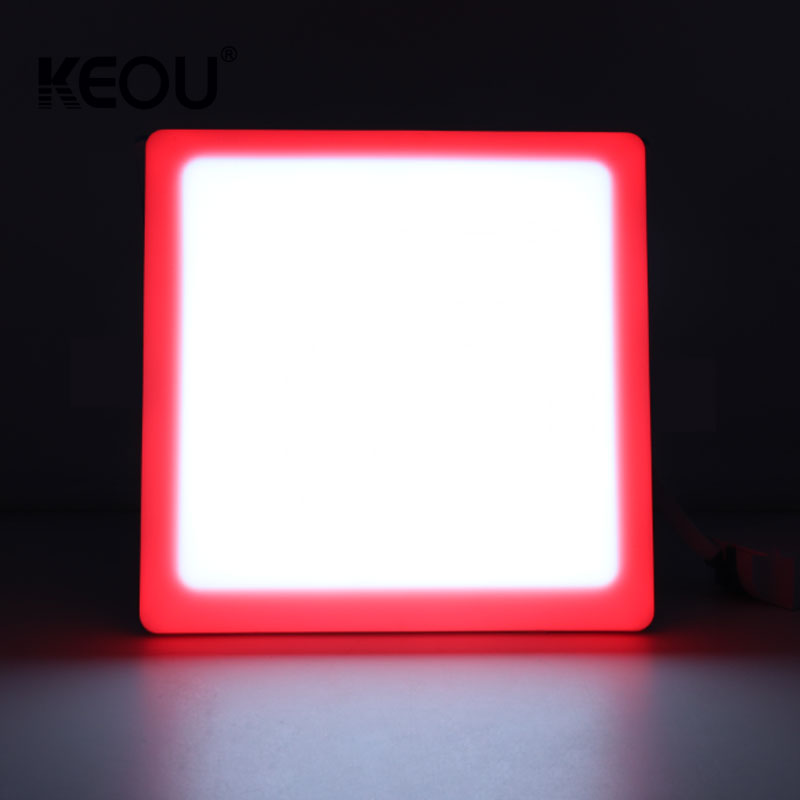 two color led panel 16w square tuv CB CE no frame recessed lamp with red green blue warm cool pure white 12+4w