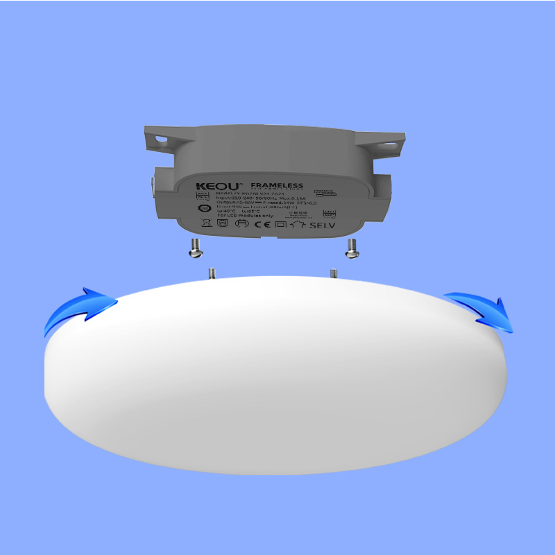 LED panel light surface mounted 36W Round PC aluminum ceiling flat lamp frameless design 3000K 4000K 6500K