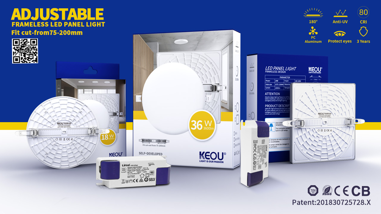 KEOU adjustable led panel light Factory & Frameless Design